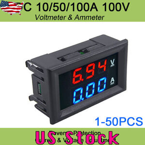 100v Dc Digital Red Led Voltage Meter Dc 10a Voltmeter Ammeter Blue red Led Dual