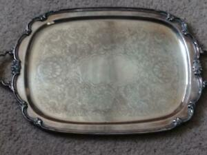 Vintage Rogers Bros 1847 Silver Plate Remembrance Serving Tray