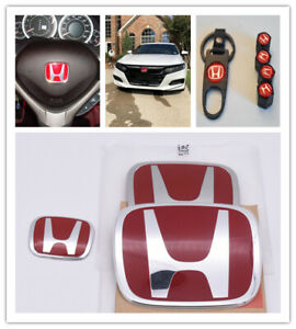 Racing Set Red H Emblem Front Rear Steering Wheel Fit 2006 15 Honda Civic Sedan