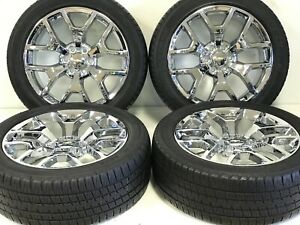 22 Gmc Fits Chevy Chrome Wheels 1500 Sierra Y Spoke Rims Bridgestone Tires 5656