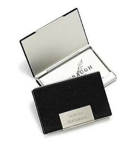 Personalized Black Leather Steel Business Card Case engraved Gift Present
