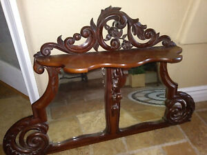 Antique Victorian Ornately Carved Buffet Or Mantle Mirror