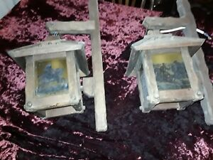 Pair Vintage Stained Glass And Oak Wall Lamps