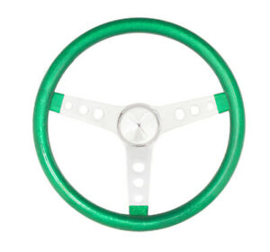 Grant Steering Wheel Metal Flake 15 3 spoke Green Metal Flake Steel Chrome