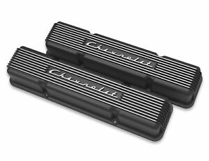 Valve Cover Vintage Series Tall Finned Chevy Logo Aluminum Satin Black Pair