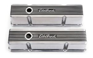 Edelbrock 4263 Valve Cover Elite Ii Tall Baffled Breather Hole Polished Pair