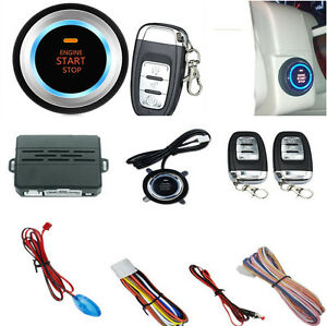 Car Auto One Key Start Push Button Alarm System With Remote Control Led Light