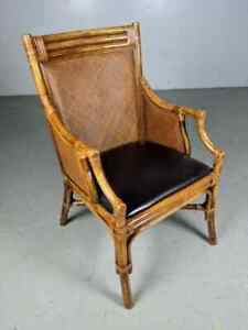 Vintage Mid Century Rattan Bamboo Arm Side Accent Wicker Club Chair