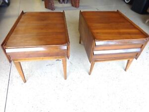 Pair Of Mid Century Modern Lane Scandia Collection End Tables W Danish Infl