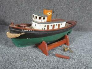 Antique Early 1900s Key Wind Toy Model Of Wood Tug Boat Robert E Woodcliff Nj