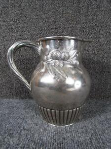 Exceptional Antique American Coin Silver Pitcher Signed Lincoln