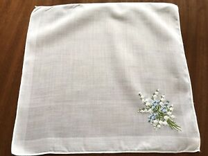 Vintage Large Hand Embroidered Flowers White Lawn Ladies Handkerchief 12x12