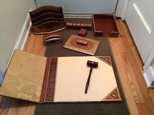 Vintage Dunhill Paris Collection Continental Gilt Leather Desk Set Accerssories