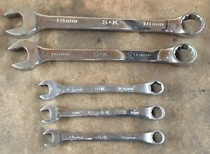 Lot Of 5 S k Tools Chrome Polished Metric Combination Wrenches 8mm To 18mm Usa