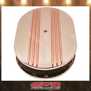Chevy Ford Mopar 12 Oval Aluminu Air Cleaner Paper Filter Partial Finned Copper