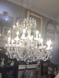 Magnificent Bronze Crystal Italian 50 S Dining Room Entry Chandelier