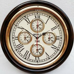 Vintage Style Brass Wooden Wall Clock World Time Clock Nautical Wall Decor