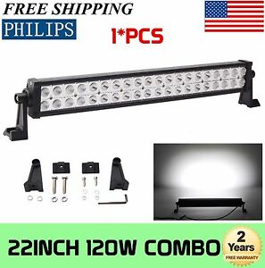 22inch 120w Led Work Light Bar Spot Flood Combo Atv Suv Toyota Chevy Gmc Boat