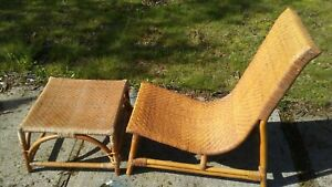 Vintage Mid Century Bamboo Wicker Rattan 34 Lounge Chair Foot Rest Ottoman