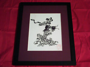 Hanging Picture Chinese Folk Art Flute Lady Riding Fish Hand Cut Paper Embossed