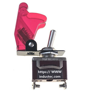 Race Car Toggle Switch Clear Red Aircraft Safety Cover 15a 12v Spst Nos 2 Pos