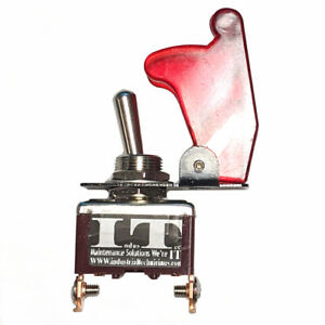 Industec Race Car Toggle Switch 12v Dc Red Aircraft Flip Safety Cover 20a Nos