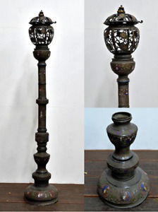 Extremely Rare Japanese Antique Cloisonne Bronze Gas Lamp 6 5 Meiji Period