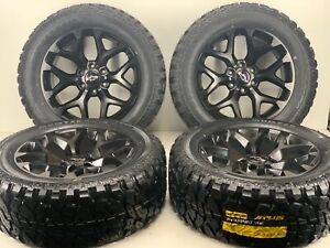20 Inch Gmc Chevy Silverado Snowflake Wheels Black Rims Mt Tires 33x125020 6x1