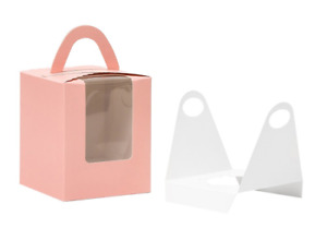 Yotruth Pop up Pink Cupcake Boxes Single 100 Sets With Window Insert And Handle