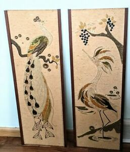 Pair 2 Mid Century Modern Mcm Peacock Birds Mosaic Wall Art 50 S Gravel Feather