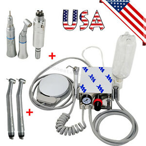 Usa Dental Air Turbine Unit Work W Compressor 4 Holes High Low Speed Handpiece