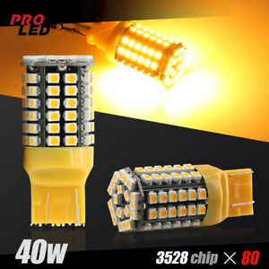 7443 7440 80smd Led Amber Yellow Front Turn Signal Blinker Lights Bulbs