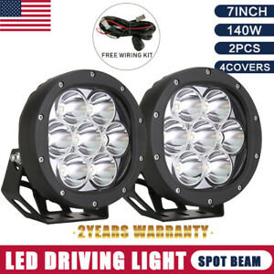 Pair 7inch 140w Cree Round Black Led Spot Driving Lights Offroad 4x4 Atv Work