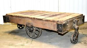 Factory Carts Coffee Table Industrial Authentic Untouched With Great History