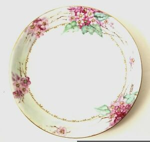 Antique Hand Painted Vintage Decorative Plate W Cherry Blossoms Exc