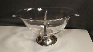 Vintage 1961 Sterling Silver Frank Whiting Glass Edison Pageant Footed Bowl 925