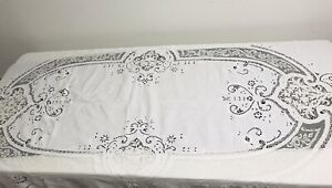 Antique Fine Handmade Figural Lace Embroidery Tablecloth Cutwork Banquet 72x110