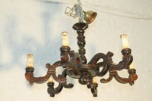 Another Nice Antique Vintage French Wood Carved Chandelier Castle L8