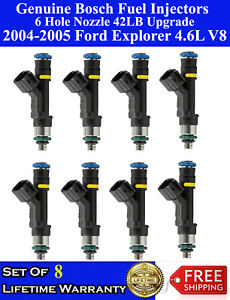 8 Genuine 6 Hole 42lb Upgraded Bosch Fuel Injectors For 04 05 Ford Explorer 4 6l