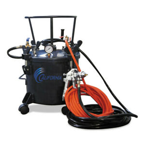 California Air Tools 5 Gal Pressure Pot W Hvlp Spray Gun Hose Cat365 New