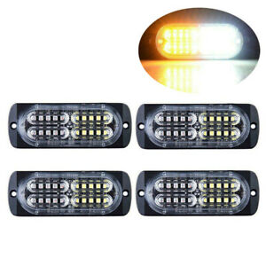4x 20led Strobe Light Amber White Car Truck Hazard Beacon Flash Warn Emergency