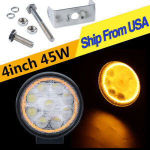 4 Inch Amber Led Work Light Bars Flood Round 4wd Atv Backup Pods Fog Lamp 4300k