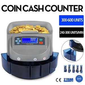 Electronic Coin Counter Sorter Currency Money Counting Machine Dollars 8 Boxers