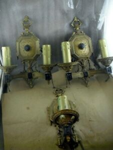 3 Great Antique Brass Cast Iron Wall Sconces Lights Art Deco Electric Candle