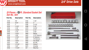 Wright Tools 631 31 Piece 3 4 Drive Ratchet socket Set 12 pt 7 8 2 3 8 Usa