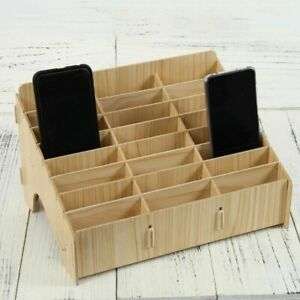Office Mobile Phone Storage Meeting Organizer Wood Desktop Holder Desk Stand