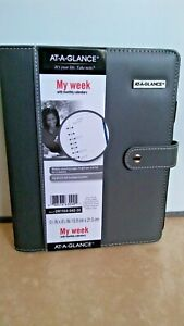 At a glance Faux Leather Starter Set Snap Closure Weekly monthly Planner Gray