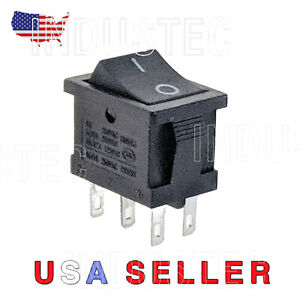 Industec Rocker Switch 6 Pin Dpdt 2 Position 10a Maintained 12v 24v Quick Plug