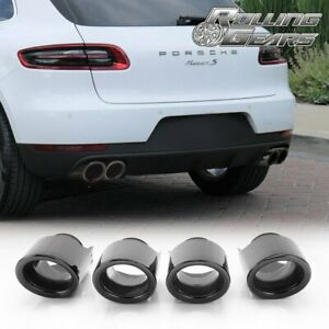 Glossy Black Exhaust Tips Muffler Pipes For 2014 2018 Porsche Macan S Lh Rh
