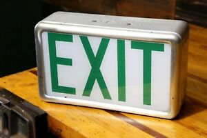 Vintage Exit Sign Kirlin Company Green Glass Old Movie Theater Sign Lighted